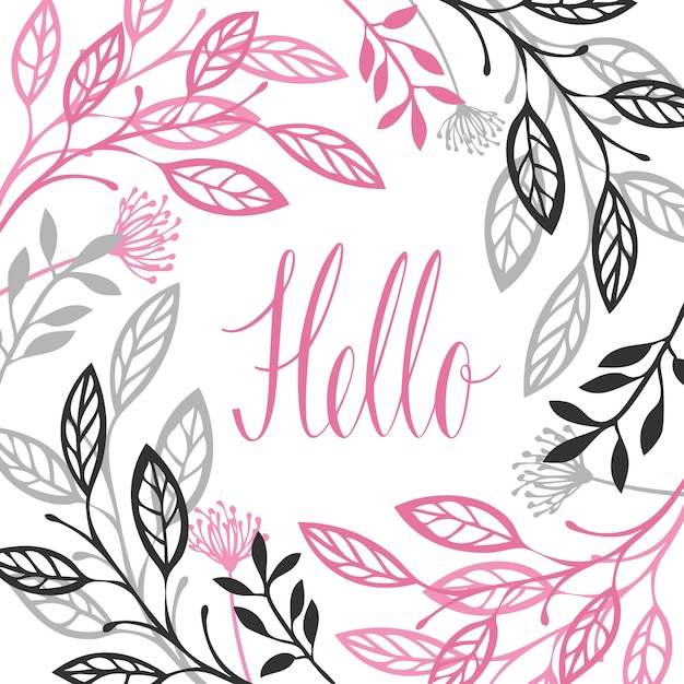 Cadre floral abstrait Couleur grise et rose Lettrage calligraphie Bonjour Objet vectoriel isolé Vecteur gratuit
