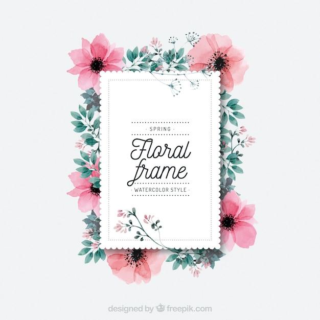 Cadre floral aquarelle au printemps Vecteur gratuit
