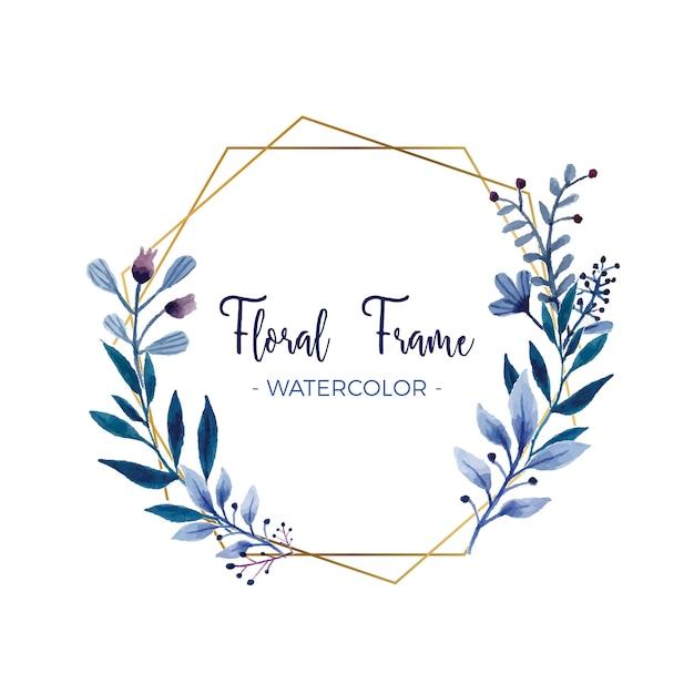 Cadre Floral Aquarelle Avec Cadre En Or Vecteur gratuit