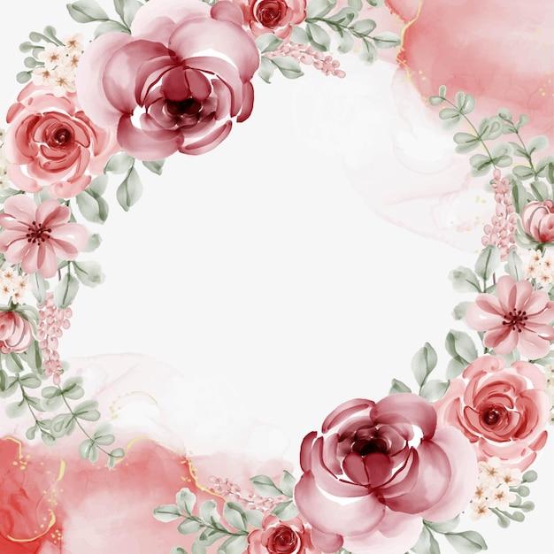 Cadre Floral Aquarelle Avec Fond Circulaire Vecteur Premium