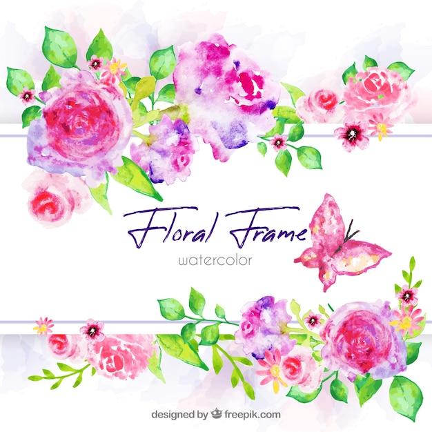 Cadre floral aquarelle avec style coloré Vecteur gratuit