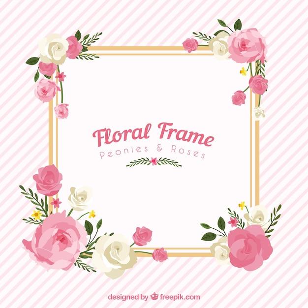 Cadre floral avec des pivoines et des roses Vecteur gratuit