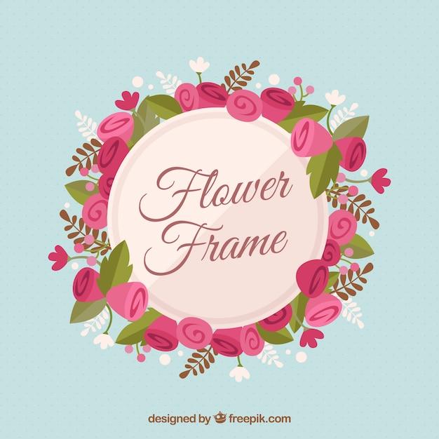 Cadre floral avec des roses plates Vecteur gratuit