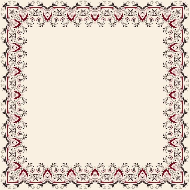 Cadre floral carré fin de toile. élément décoratif pour les invitations et les cartes. élément de bordure Vecteur gratuit