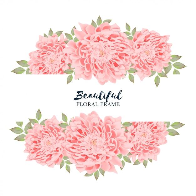 Cadre Floral De Chrysanthème Horizontal Vecteur Premium