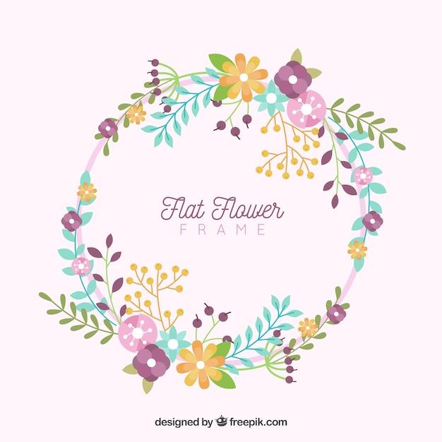 Cadre floral circulaire avec design plat Vecteur gratuit