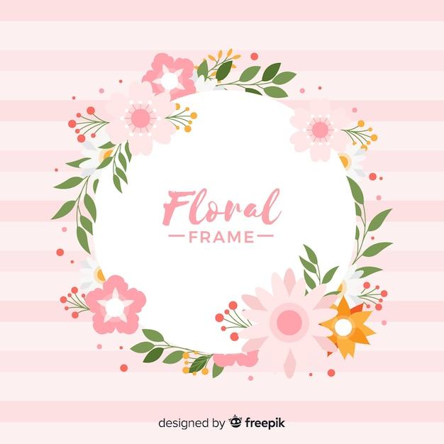 Cadre floral coloré au design plat Vecteur gratuit