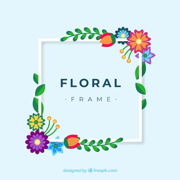 Cadre Floral Coloré Dans Un Style Plat Vecteur gratuit