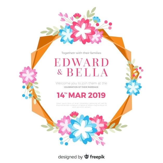 Cadre floral coloré d'une invitation de mariage Vecteur gratuit