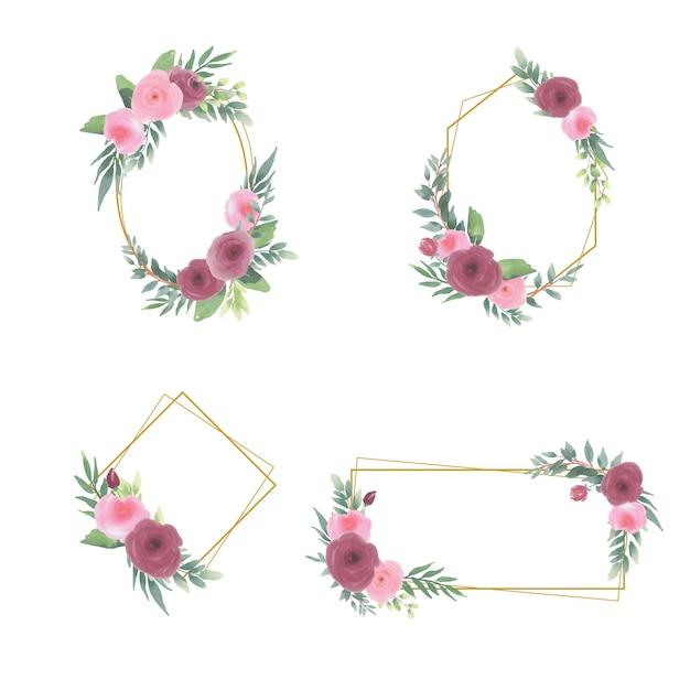 Cadre Floral Avec Des Décorations De Bouquet De Fleurs Aquarelle Et Des Cadres En Or Vecteur Premium