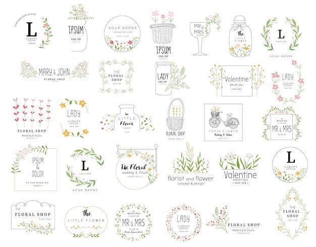 Cadre floral défini pour mariage, magasin de fleurs, style dessiné à la main Vecteur Premium