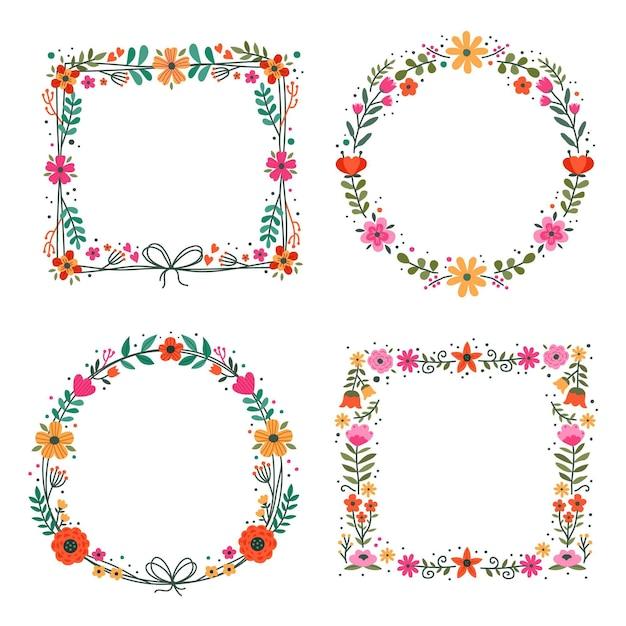 Cadre Floral Dessiné Main Coloré Vecteur gratuit