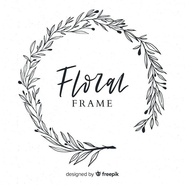 Cadre floral dessiné à la main Vecteur gratuit