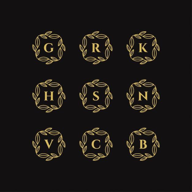Cadre Floral Doré Avec Illustration Vectorielle De Lettre Logo Modèle Vecteur Premium