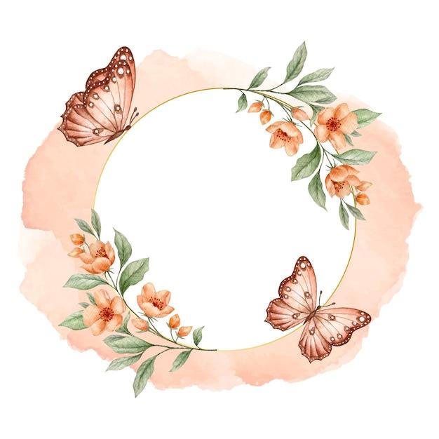 Cadre Floral Doré De Luxe Avec Des Papillons Vecteur Premium