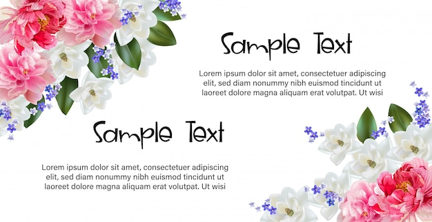 Cadre Floral Avec Fleur De Cerisier Pour Carte De Voeux Et D'invitation Vecteur Premium