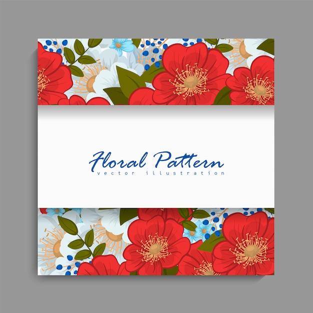 Cadre floral avec une fleur rouge et bleue. Vecteur gratuit