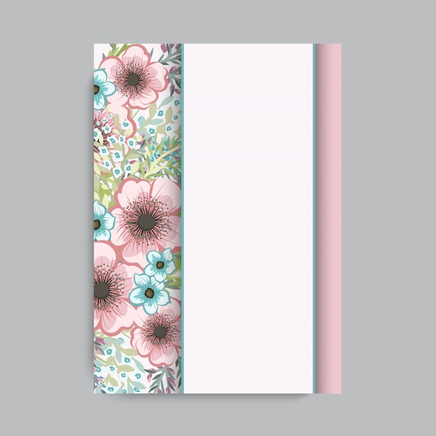 Cadre floral avec des fleurs colorées. Vecteur gratuit