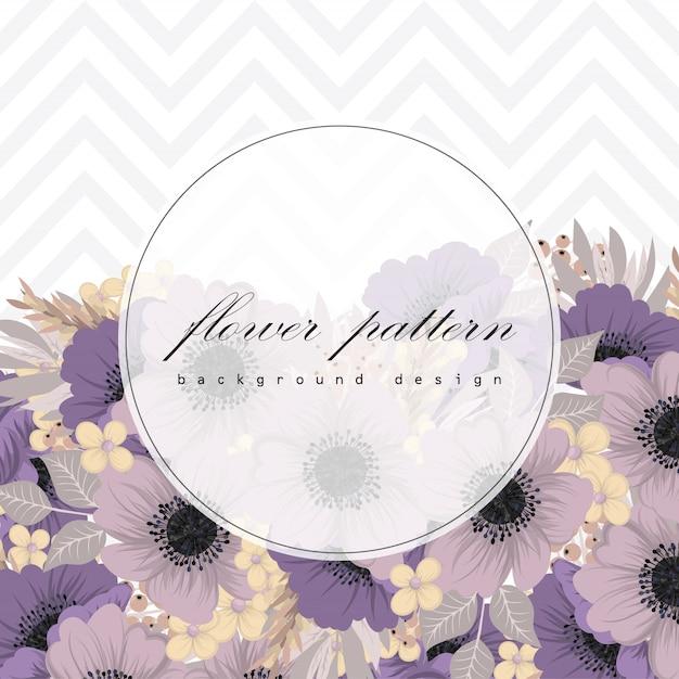Cadre floral avec des fleurs colorées. Vecteur Premium