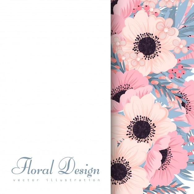 Cadre floral avec des fleurs roses et bleues. Vecteur gratuit