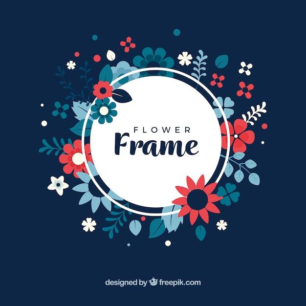 Cadre floral avec fond sombre Vecteur gratuit