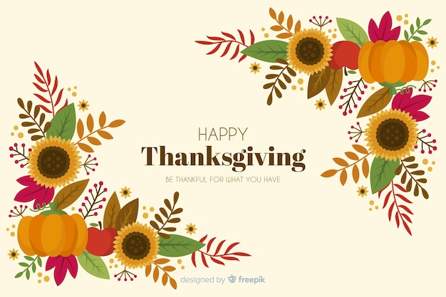 Cadre floral fond de thanksgiving dessiné à la main Vecteur gratuit