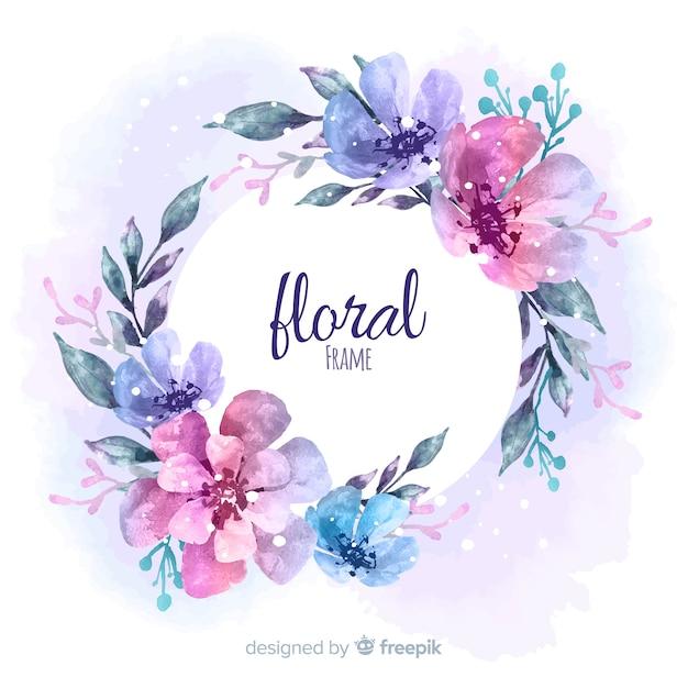 Cadre floral moderne avec style aquarelle Vecteur gratuit
