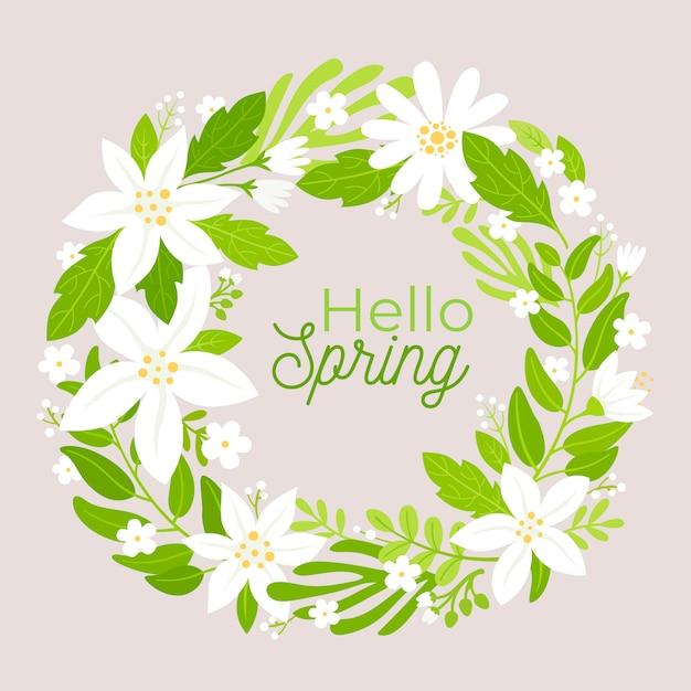 Cadre Floral Plat De Printemps Vecteur gratuit