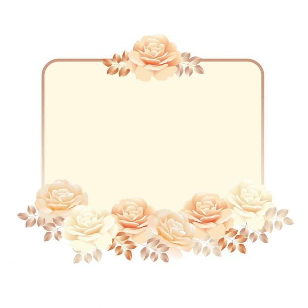 Cadre floral pour le fond d'invitation. illustration vectorielle perle couleur jaune rose Vecteur Premium