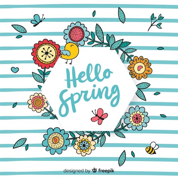 Cadre floral printanier dessiné à la main Vecteur gratuit