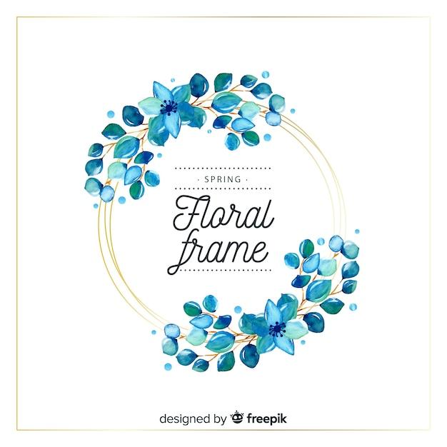 Cadre floral printemps aquarelle cercle Vecteur gratuit