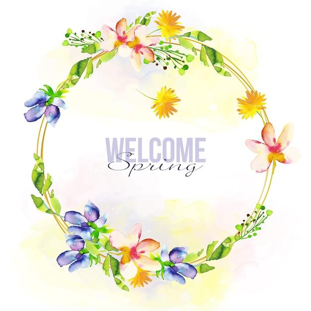 Cadre Floral De Printemps Aquarelle Vecteur gratuit