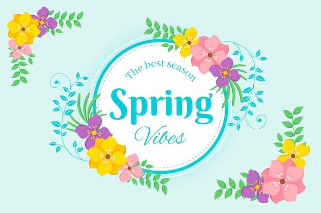 Cadre Floral De Printemps Design Plat Vecteur gratuit