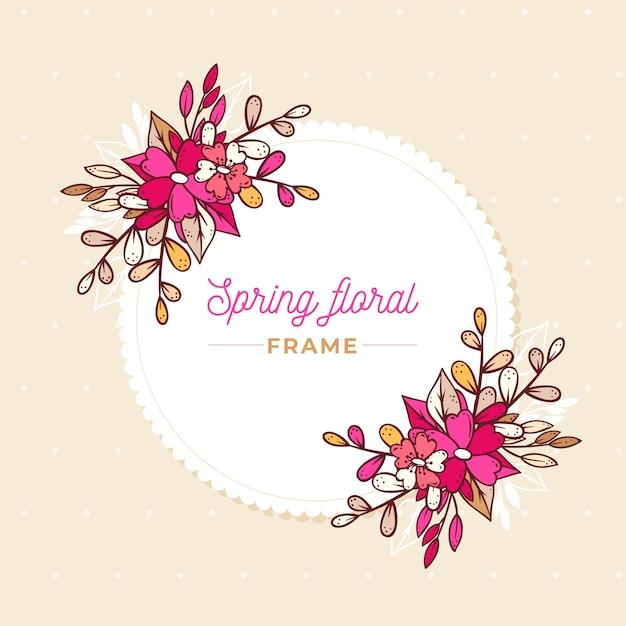 Cadre Floral De Printemps Rose Dégradé Dessiné à La Main Vecteur gratuit