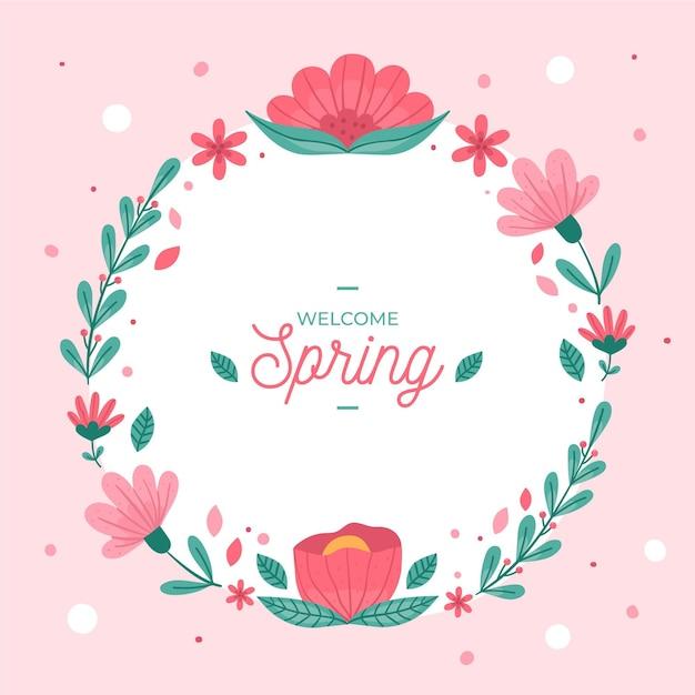 Cadre Floral De Printemps Vecteur Premium