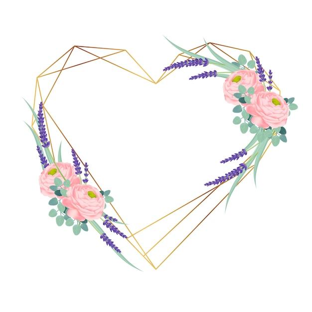 Cadre Floral Avec Renoncule Et Fleurs De Lavande. Vecteur Premium