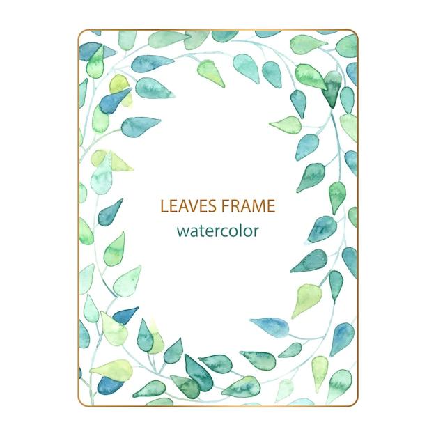 Cadre floral romantique de feuilles à l'aquarelle Vecteur Premium