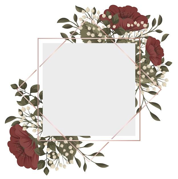 Cadre floral rouge fleurs rouges et blanches Vecteur gratuit