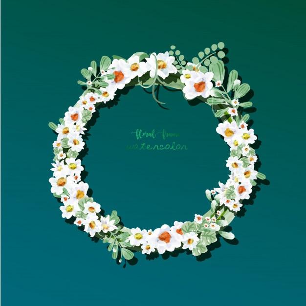 Cadre floral vintage dans un style aquarelle. Vecteur Premium