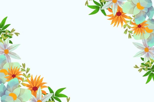 Cadre De Fond Aquarelle Printemps Floral Avec Espace Copie Vecteur gratuit