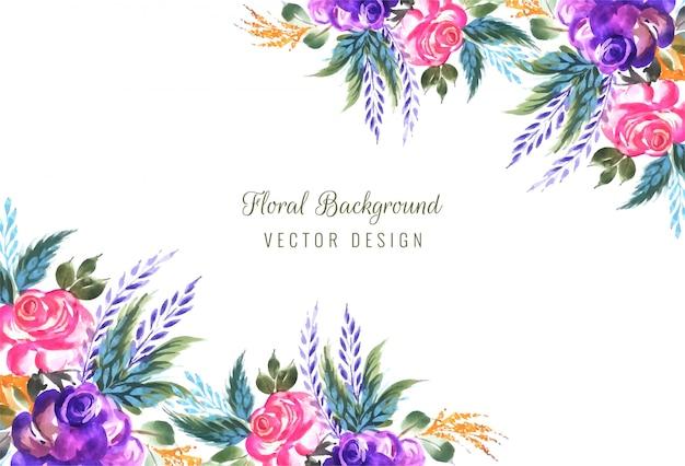 Cadre En Fond De Composition Florale Décorative Vecteur gratuit