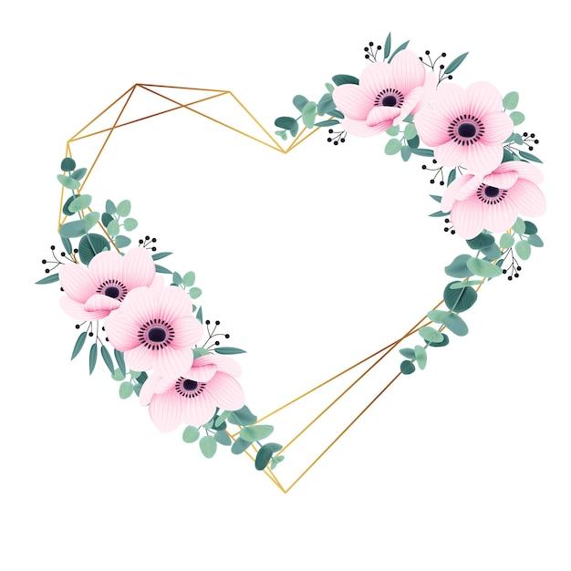 Cadre fond floral avec des fleurs d'anémone et d'eucalyptus Vecteur Premium