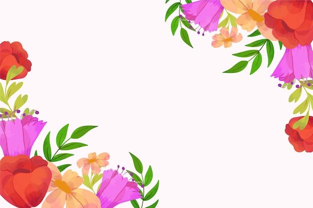 Cadre De Fond De Printemps Aquarelle Roses Avec Espace Copie Vecteur gratuit