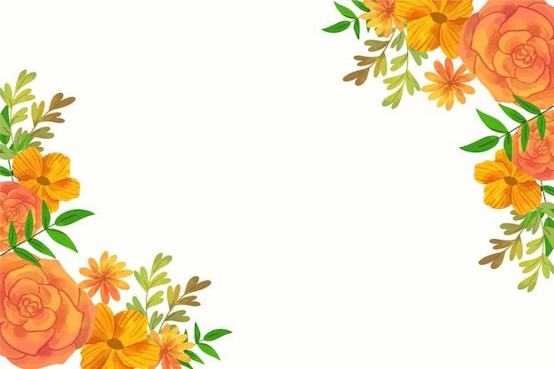 Cadre De Fond De Printemps Floral Aquarelle Orange Avec Espace Copie Vecteur gratuit