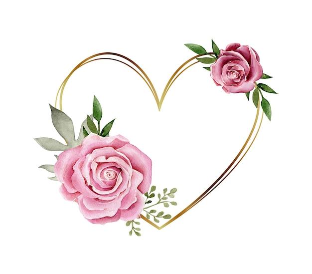 Cadre En Forme De Coeur Doré Avec Composition De Fleurs Aquarelle Vecteur Premium
