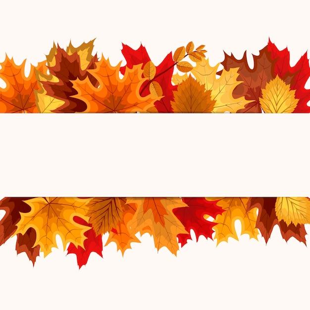 Cadre frontière de chute des feuilles de l'automne Vecteur Premium