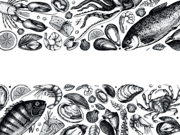 Cadre De Fruits De Mer Dessiné à La Main. Avec Poissons Frais, Homard, Crabe, Crustacés, Calamars, Mollusques, Caviar, Crevettes. Modèle De Menu De Croquis De Fruits De Mer Vintage Vecteur Premium