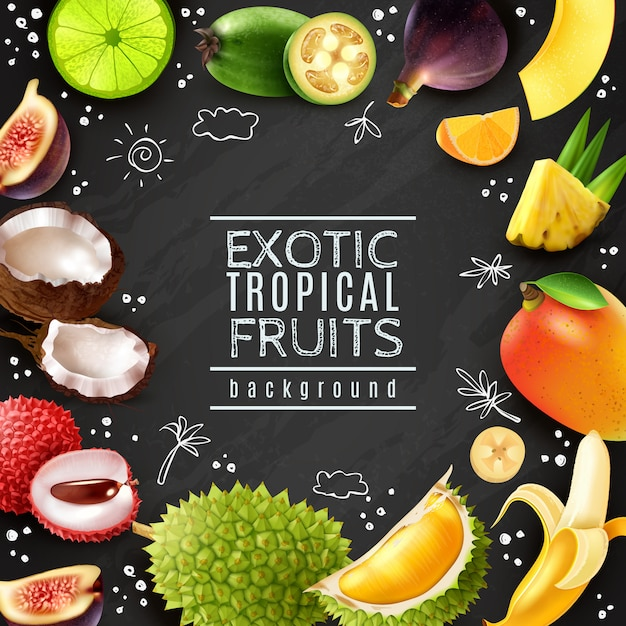 Cadre de fruits tropicaux fond de craie Vecteur gratuit