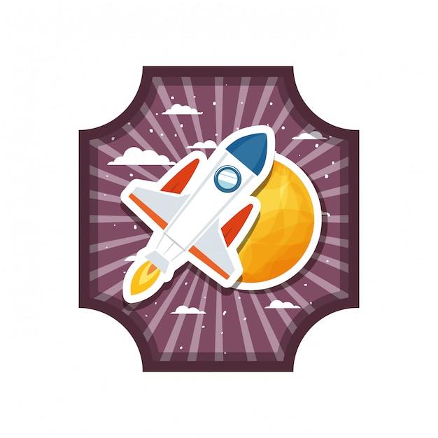 Cadre avec fusée et planète du système solaire Vecteur Premium
