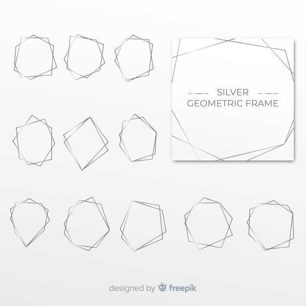 Cadre géométrique argenté Vecteur gratuit